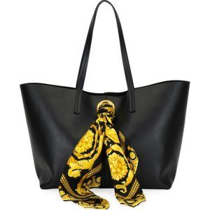 NEW Versace Black Tribute Baroque Scarf Leather